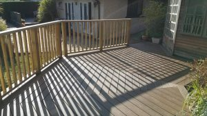 Trex deck with timber railing