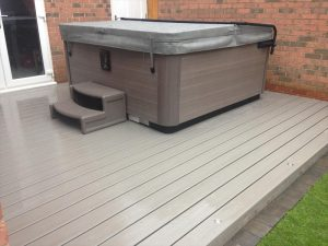 trex deck with hot tub on top