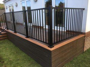 Raised deck with aluminium railing