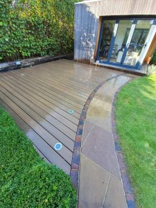 Trex decking using with curved brick path