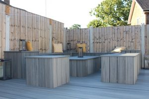 Seating area created with Island Mist deck boards