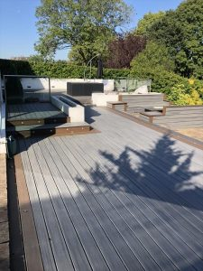 Large Trex deck with multiple levels and spotlights