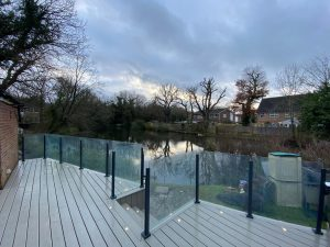 Trex decking and clear glass railings