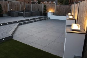 Trex Island Mist deck used with a grey paved area