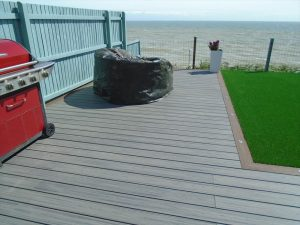 Trex decking with barbecue and seating