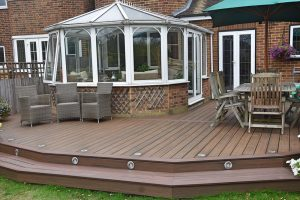 Trex decking with spot lights in the step