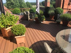 Trex deck beneath multiple pots with plants in