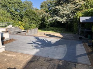 Trex decking next to paved area