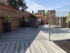 Trex Island Mist decking used in different directions