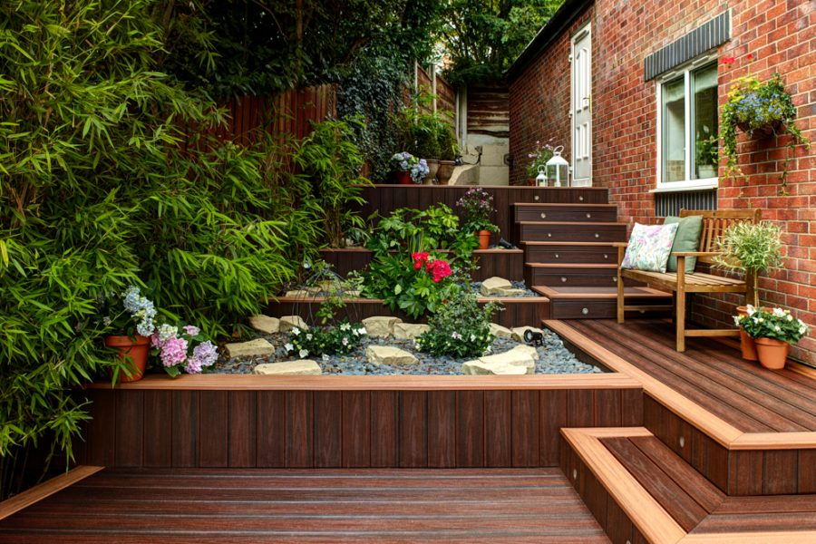 Trex deck with steps and rockery