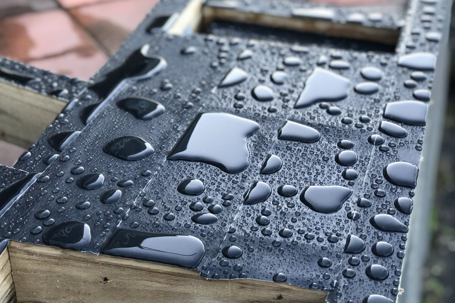 Trex protect on top of timber joists with water droplets