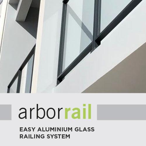 The ArborRail aluminium glass railing system on a white concrete balcony