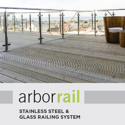 The ArborRail stainless steel & glass railing system on a wooden deck