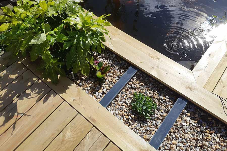Trex decking detail by pond