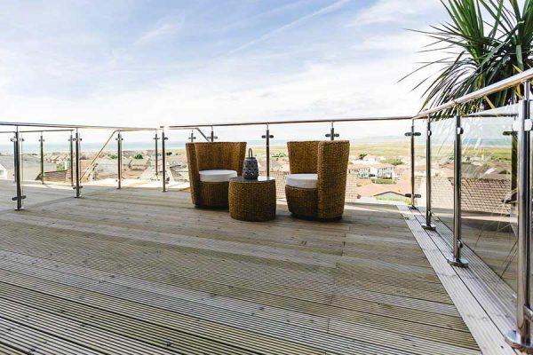 Stainless steel glass deck railing balcony