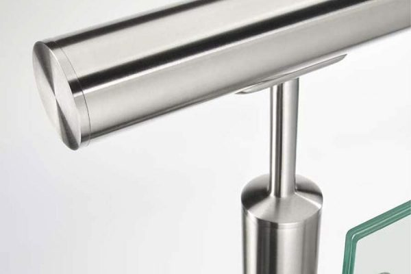 Stainless steel glass railing close up