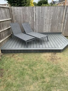 Small grey Trex deck with sun loungers