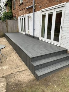 Raised Trex deck with steps
