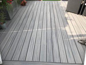 Close-up grey Trex decking area
