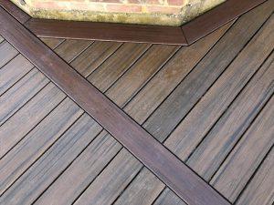 Close-up brown Trex deck boards