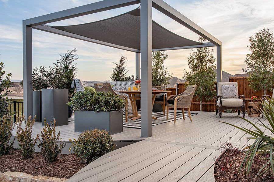Trex decking with modern garden structure